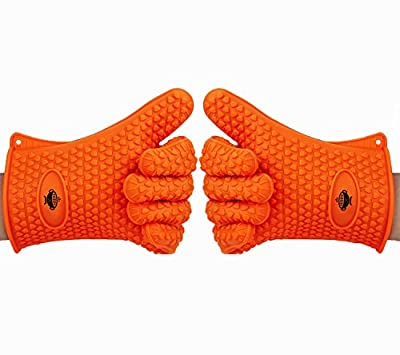 Heat Resistant Kitchen Cooking Gloves by BeSafe. Ideal for BBQ, Grilling and Oven Baking. Premium Quality FDA Approved Silicone Gloves. Waterproof and Stain Resistant. Indoor and Outdoor Use - Orange