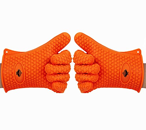 Heat Resistant Kitchen Cooking Gloves by BeSafe. Ideal for BBQ, Grilling and Oven Baking. Premium Quality FDA Approved Silicone Gloves. Waterproof and Stain Resistant. Indoor and Outdoor Use - Orange (Oven Top Smoker compare prices)