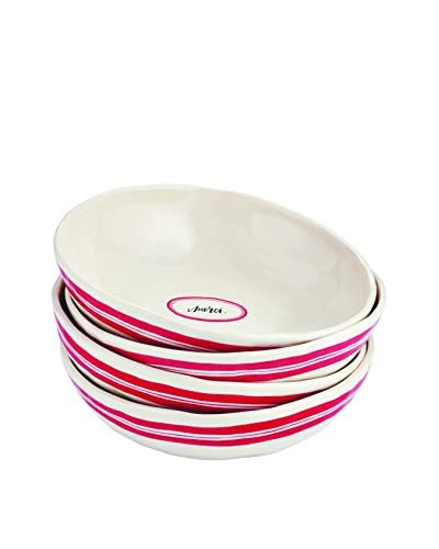 Rae Dunn by Magenta Set of 4 French Pasta Bowls, White