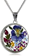 Sterling Silver and Pressed Flower Pendant Necklace 18