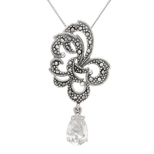 Sterling Silver Marcasite Clear Glass Ribbon Pendant Necklace , 18