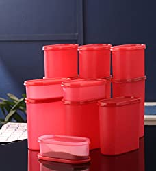 mahalakshmi Space Saver Container 600ml to 2400 Set Of 12 candy red (Microwaveable)