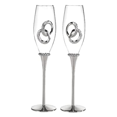 Hortense B. Hewitt Wedding Accessories Two Rings Champagne Flutes, Set of 2
