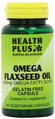 Health Plus Omega Flaxseed Oil 450mg Omega-3, Omega-6 & Omega 9 Supplement - 90 Gelatin Free Capsules