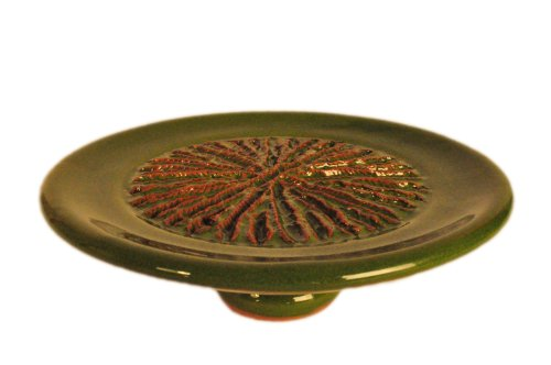 Terafeu Hand Made Pottery Garlic Grater, Green