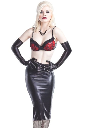 Wicked Black Rubber Look Pencil Skirt (M) Image