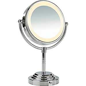 lighted makeup mirror polished chrome finish personal makeup. Black Bedroom Furniture Sets. Home Design Ideas