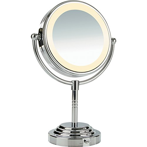 sided battery operated lighted makeup mirror 5x 1x magnification. Black Bedroom Furniture Sets. Home Design Ideas