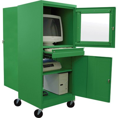 Buy Low Price Comfortable Sandusky Lee Steel Mobile Computer Security Workstation – For CRT Monitor, Green, Model# JG2663-08 (B0051F9BSG)