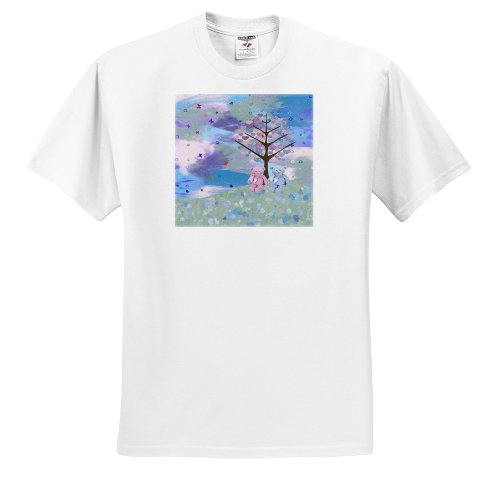 Beverly Turner Valentine Design - Teddy Bears on Flowered Hill Under Heart Tree, Blue, Pink, Greens, Purple - T-Shirts