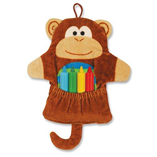 Stephen Joseph Bath Mitt and Crayons Monkey, Brown - 1