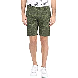 Atorse Mens Leaf Printed Green Cotton Casual Shorts
