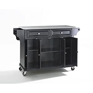 Crosley Furniture Stainless Steel Top Kitchen Cart Island Black Kitchen Dining