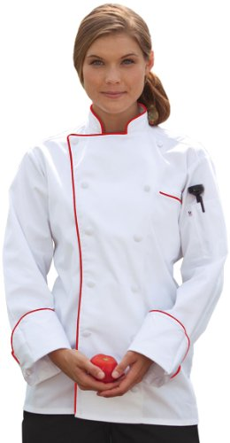 Uncommon Threads 0432-4602 Murano Chef Coat in White with Red Piping - Small