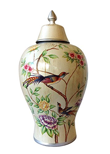 Elegant Cream Colored Floral Highlighted Storage Jar or Urn for the Designer Home. Large Size (Decorative Ceramic Urns compare prices)