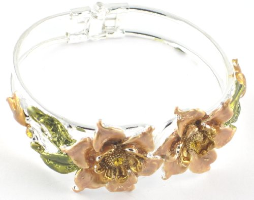Large Flower Peach Coloured & Diamante Detail Snap Bangle