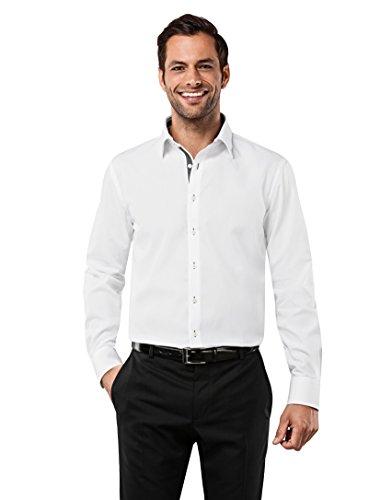VB -  Camicia classiche  - Basic - Classico  - Maniche lunghe  - Uomo blanc/anthracite Medium