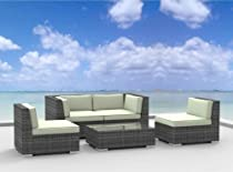 Big Sale Urban Furnishing - RIO 5pc Modern Outdoor Backyard Wicker Rattan Patio Furniture Sofa Sectional Couch Set - Beige