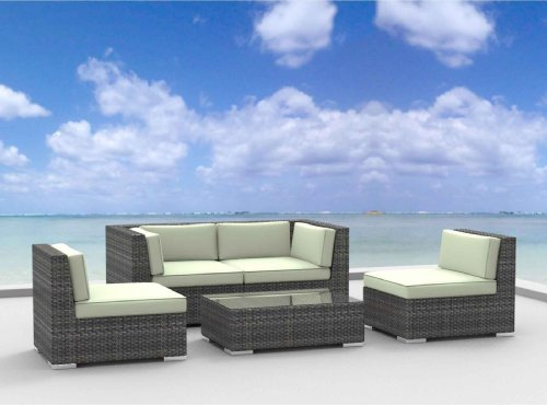 Urban Furnishing - RIO 5pc Modern Outdoor Backyard Wicker Rattan Patio Furniture Sofa Sectional Couch Set - Beige image