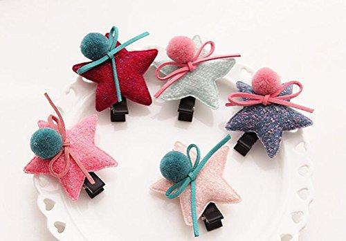 cuhair 4 pièces 6,5 cm Star Balle Design Nœud Papillon pour Enfant Fille Barrettes