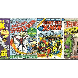 Marvel comic books wall paper border with 15 covers for Comic book wallpaper mural