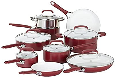 Food Network Cookware Set Premium 15piece Nonstick Ceramic Coating Scratch Resistant PTFE PFOA and Cadmium Free Dishwasher & Oven Safe, Red, Glass Lid
