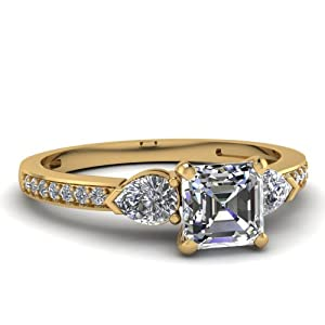Fascinating Diamonds 1 Ct Asscher Cut VS1 Diamond Pave Set Engagement Ring W Pear Sidestones 14K GIA