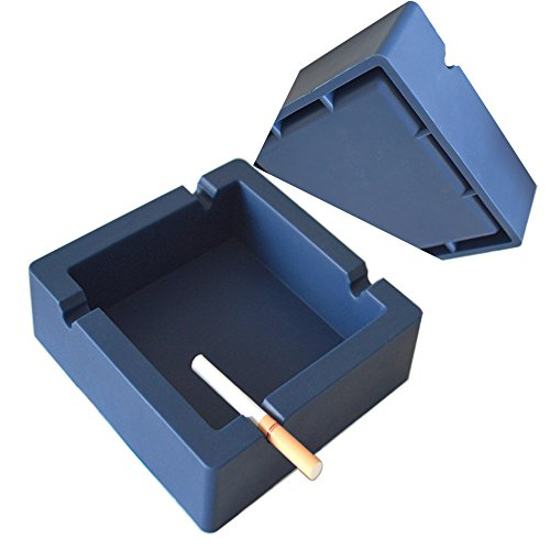 Oilp Large Cigar Ashtray Big Cigarette Ashtray Unbreakable Silicone Ashtrays,4 Cigars and Cigarettes Dual-use Grooves to Rest Cigar or Cigarette for Outdoor Ashtray Home Décor (Navy Blue)