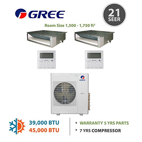 Gree MULTI42BDUCT208 - 42,000 BTU Multi21 Dual-Zone Concealed Duct Mini Split Air Conditioner with Heat Pump 220V (18-24) (Multi Zone Gree Mini Split compare prices)