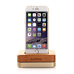 eimolife® Bamboo Wooden Aluminum Charger Dock Tray Stand Charging Station For Apple iPhone 6 Plus 5S 5C 4S Wooden Phone Stands Data Cable (Golden)