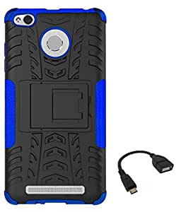 TBZ Hard Grip Rubberized Kickstand Back Cover Case for Xiaomi Redmi 3S with OTG Cable -Blue