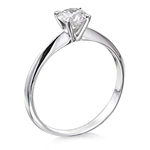 Certified, Round Cut, Solitaire Diamond Ring in 18K Gold / White (1/3 ct, J Color, VS2 Clarity)