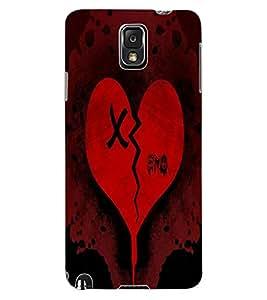 ColourCraft Broken Heart Design Back Case Cover for SAMSUNG GALAXY NOTE 3