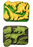 Win&Co Dinosaur Ice Trays/Chocolate Molds Set of 2 and 100% food grade pure silicone. Make chocolate dinosaurs for your children for the new Jurassic Park Movie
