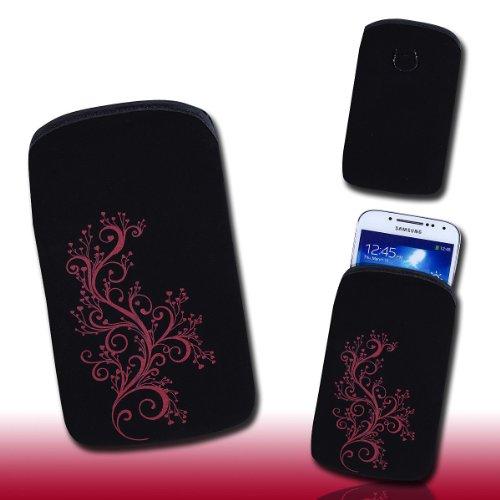 Handy Tasche schwarz/rot E11-3 für Samsung C3312 Rex60 / S5222R Rex80 / Galaxy Young S6310 / Galaxy Young Duos S6312 / Galaxy Pocket Plus S5301 / Samsung Galaxy Pocket Neo S5310 / Alcatel OT 903D / Alcatel OT Star 6010D