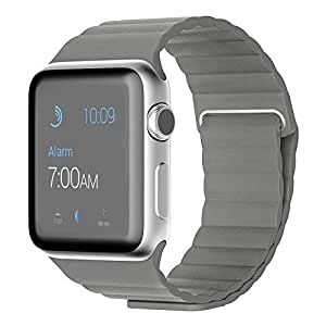 Apple Watch Band, with Unique Magnet Lock, Eagwell Genuine Leather Loop Strap Replacement Band for Apple Watch 42mm All Models(Leather Loop, Gray, 42mm)