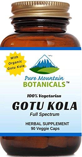 Organic Gotu Kola Capsules - 90 Kosher Vegetarian Caps - Now with 400mg Nature's Organic Gotu Kola Herb Powder - Highest Quality Gotu Kola Supplement