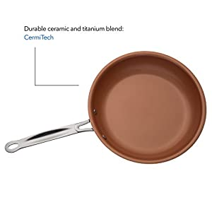 """California Home Goods 9.5"""" Non-Stick CermiTech Frying Pan, Oven Safe, Dishwasher Safe, Scratch Proof, 9.5 Inches, Ceramic Titanium Blend, Copper Colored, Comparable to Gotham Steel"""