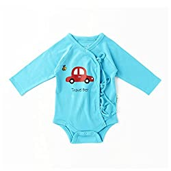 Little Green Kid Organic Cotton Blue Full Sleeve Travel Bee Kimono Romper