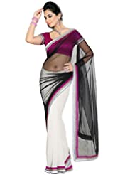 Deepika Saree Faux Georgette Black and White Saree with Blouse