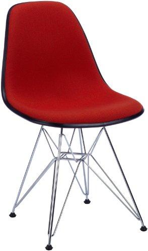 Vitra 4401520003960100 DSR Eames - Silla (tapizado rojo con reborde negro, patas de metal)
