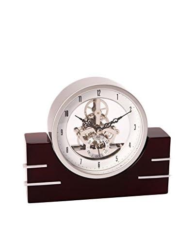 Bey-Berk Lacquered Wood Skeleton Clock, Silver/Rosewood