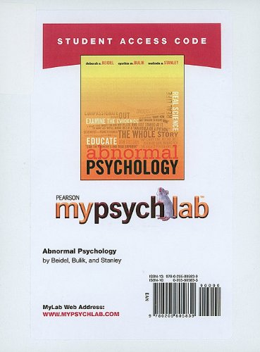 MyPsychLab Student Access Code Card for Abnormal Psychology (standalone) (Mypsychlab (Access Codes))