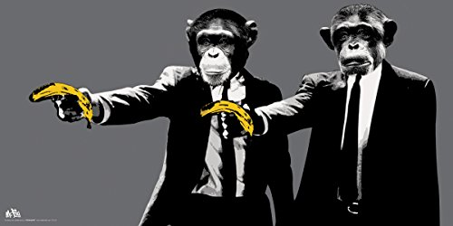 Monkeys Banana Guns Novelty College Art Poster Print 12x24
