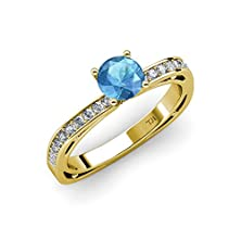 buy Blue Topaz And Diamond (Si2-I1, G-H) Euro Shank Engagement Ring 0.90 Ct Tw In 14K Yellow Gold.Size 6.5