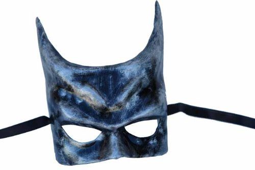 Black and Silver Finish Batman Style Half Face Paper Mache Mask
