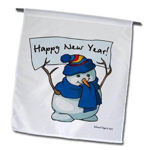 Happy New Year Snowman Garden Flag