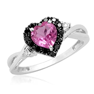 10k White Gold Heart Shaped Created Pink Sapphire with Round Black and White Diamond Ring, Size 7 from Amazon Curated Collection