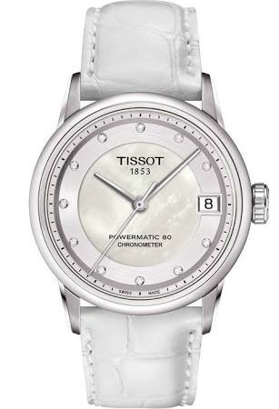 Tissot Powermatic 80 Mother of Pearl White Leather Ladies Watch T0862081611600