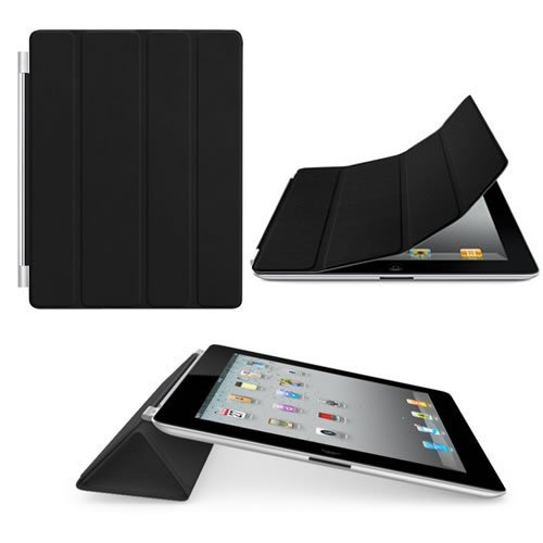 Magnetic Black Cover Case Stand for Apple iPad 2 - Black
